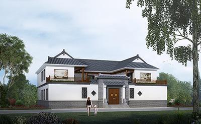 四合院别墅设计效果图及平面图,全套施工图纸