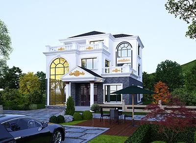 新农村私人别墅建筑设计施工图,全套三层别墅设计图纸BZ3512-简欧风格