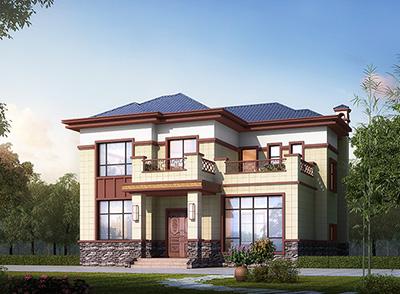 私人二层中式别墅建筑设计图(效果图+全套别墅设计方案)