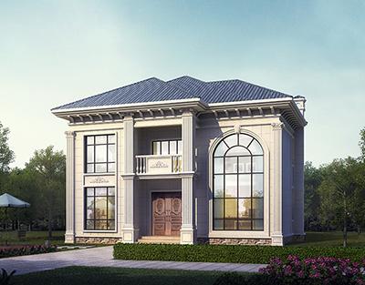 欧式小型二层别墅效果图片,带全套Cad别墅设计图纸BZ2522-简欧风格