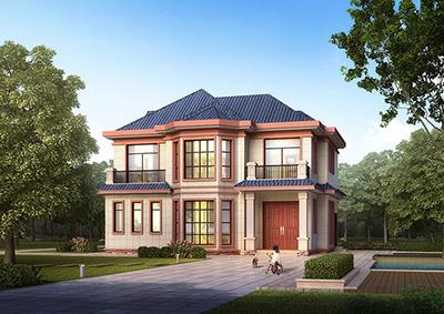 经典户型二层农村小别墅设计图BZ2528-简欧风格