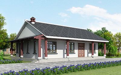 农村一层新中式别墅设计图及效果图片,外观好看极了