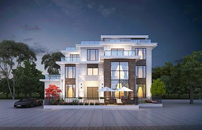 三层现代风格别墅设计图 造价55万