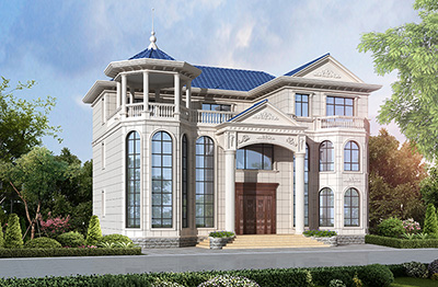 三层豪华大气欧式别墅设计图 带八角凉亭BZ3537-简欧风格