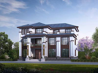 三层新中式别墅设计施工图及效果图
