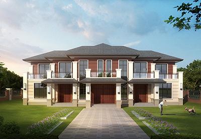 农村二层三拼别墅设计图纸及效果图BZ2554-新中式风格