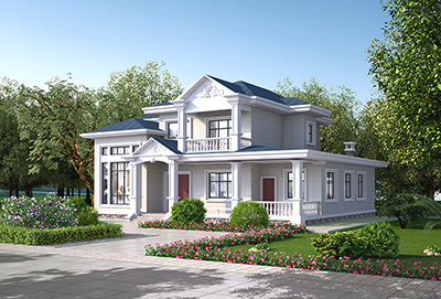 农村二层楼别墅设计图 自建房图纸BZ2557-简欧风格