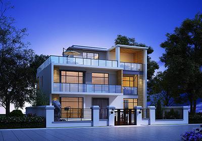 现代别墅设计图纸及效果图大全 二层BZ2558-现代风格