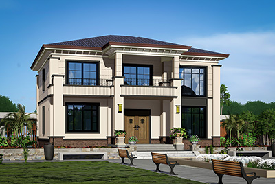 二层房屋欧式自建房设计图BZ2561-新中式风格
