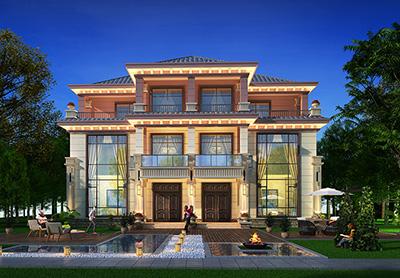 中式三层双拼别墅图纸设计图 18X13米