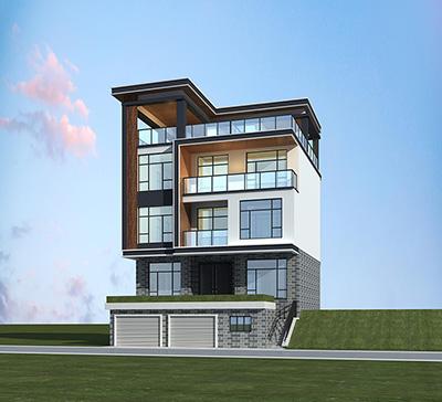 现代别墅设计图纸及效果图大全 三层半房屋设计