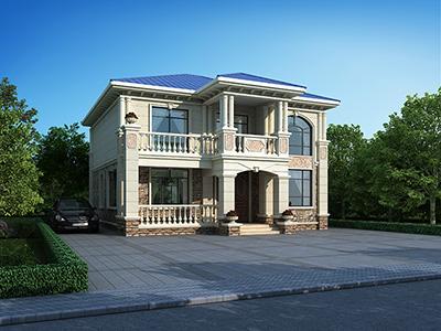 农村二层小别墅设计图纸及效果图 11X13米BZ2568-简欧风格