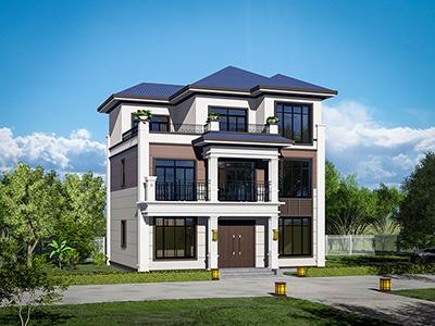 乡下新中式三层房屋设计图纸 造价30万BZ3553-新中式风格