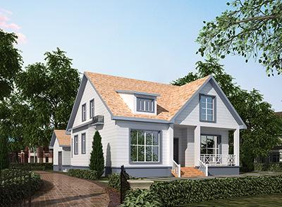 农村一层美式别墅设计图纸带阁楼