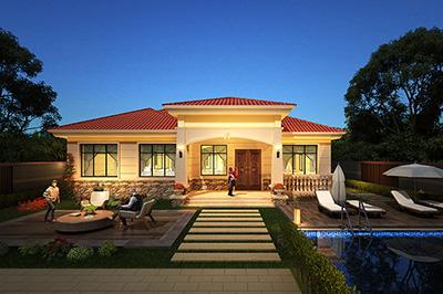 漂亮的一层平房设计图及效果图 造价:20万BZ139-简欧风格