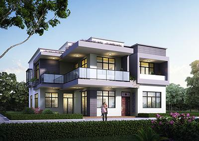 二层现代简约平顶别墅外观及图纸