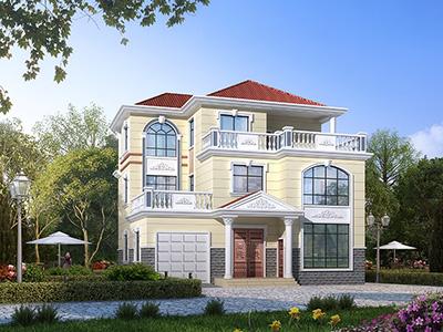 三层欧式别墅设计图纸及效果图大全 12X12米