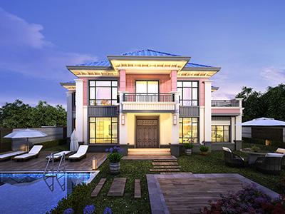 农村新中式自建房二层图片大全 造价40万