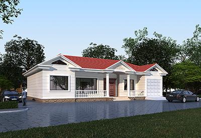 农村一层小别墅设计图 欧式别墅图纸BZ141-简欧风格