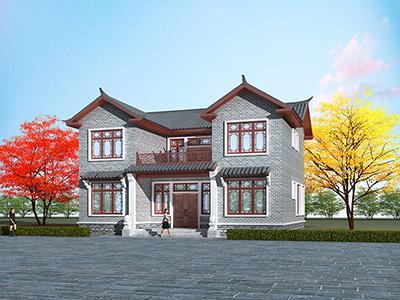 中式二层农村自建房设计图纸BZ2579-新古典风格