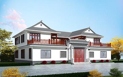 中式四合院别墅设计图纸及效果图大全BZ2582-新中式风格