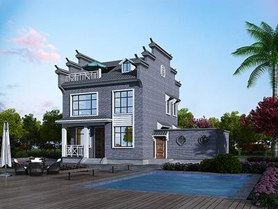 二层仿古建筑设计图纸BZ2581-新古典风格