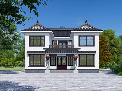 新中式二层别墅设计图纸造价30万  开间13X11米