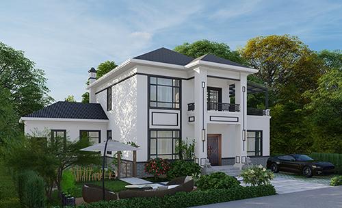 乡村现代二层楼房设计图和外观图片BZ2588-现代风格