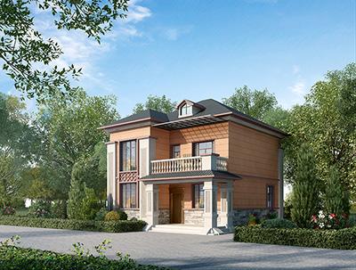 二层简中式小别墅设计方案,全套建筑设计图纸+外观效果图