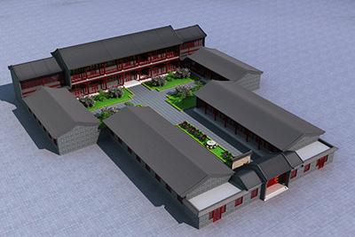 四合院盖房子设计图 民宿设计HZ009-新古典风格