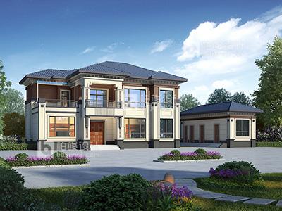 二层中式别墅外观效果图BZ2626-新中式风格