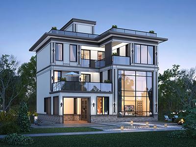 三层现代中式风格外观别墅效果图
