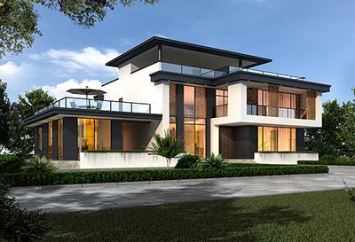 二层现代简约别墅外观效果图