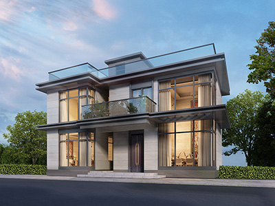 二层现代简约别墅外观效果图BZ2636-现代风格
